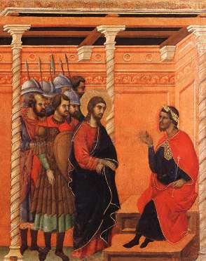 "Christ taken before Pilate ""Are you King of the Jews?""  ""You said it!"""